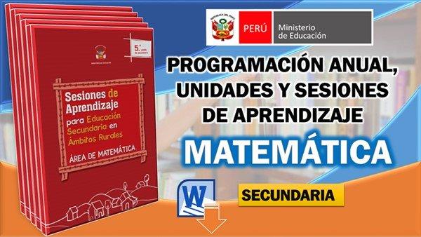Programación, Unidades y Sesiones de Matemática